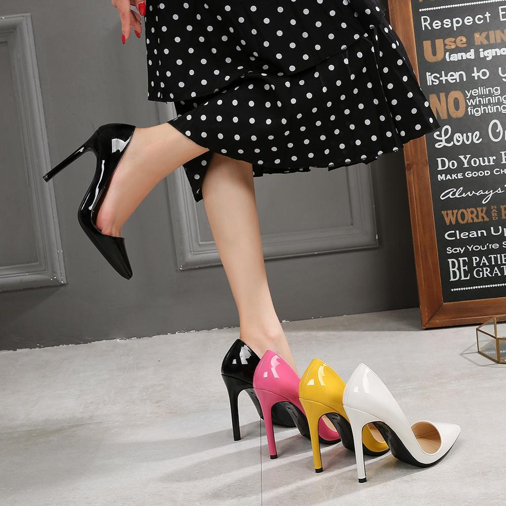 Party Dress Pumps Temperament Single Shoes Sweet Candy Color Womens Shoes Large Size Sexy Shallow Mouth High Heels 44,45,46,47