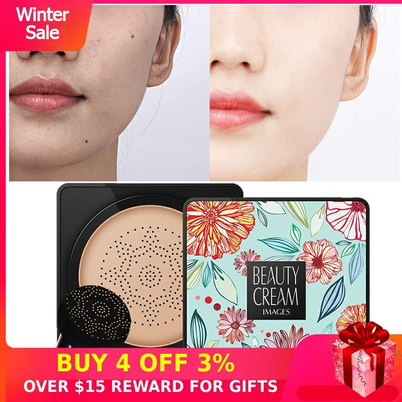 BB Air Cushion Foundation Korean Mushroom Head CC Cream Concealer Whitening Makeup Cosmetic Waterproof Brighten Face Base Tone M