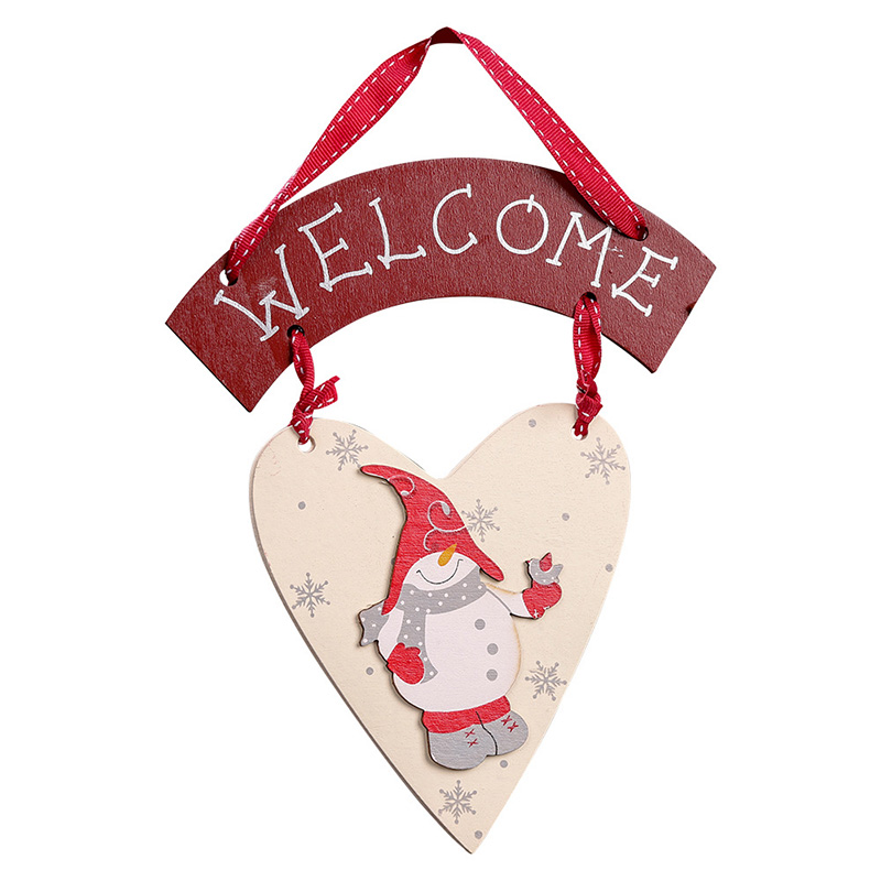 Wooden Crafts Snowman Christmas Hanging Ornaments Holiday New Year Party Welcome Tags For Home Door Window Decoration AF170
