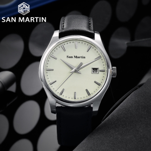 Image 2 - San Martin Männer Kleid Uhr Business Automatische Mechanische Watche Mode Swift Leder Sapphire Sehen durch Fall Zurück Datum Fenster