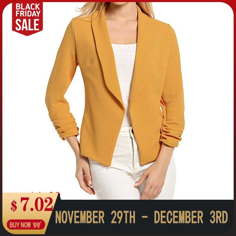 Female Jacket Manteau Femme Hiver Women 3/4 Sleeve Blazer Open Front Fashion Streetwear Loose Outerwear Tops 7.18