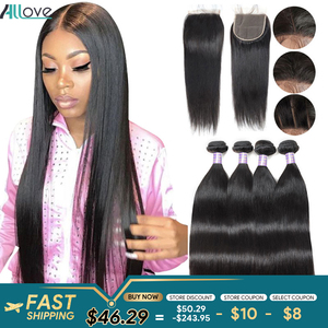 Allove Straight Bundles With Closure Human Hair Bundles With 5X5 Closure Brazilian Straight Hair Bundles with Closure Non-Remy