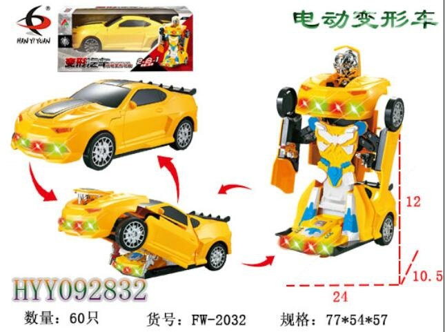 Electric Music Bumblebee Transformer Automatic Transformation Universal Rotating Cool Lights Children'S Educational Early Childh