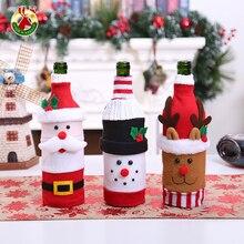 Сумка для винной бутылки, рождественское женское платье, тканая сумка, шляпа для бутылки пива, Новогоднее украшение для стола для домашвече...