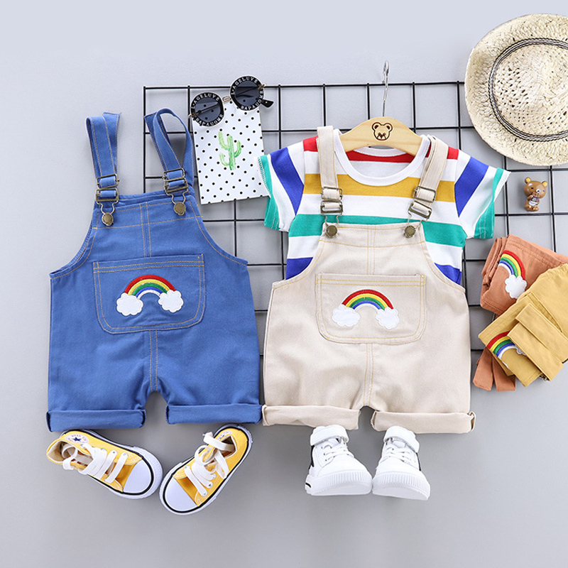 Summer Baby Boys Girls Clothes Sports T-shirt + Bib Shorts Sets For Newborn Baby Boys Girls Clothing Birthday Sets Babies Suit