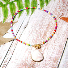 цена на Bohemian Turquoise Colorful Seed Beads Choker for Women Fashion Chic Bib Collier Femme Cowrie Shell Necklace Long Necklace
