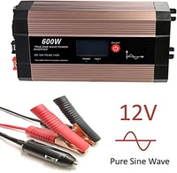 Power Inverter Pure Sine Wave 600 Watt 12V DC to 110V 230V with LCD Display, Dual AC Outlets and USB Port, Perfect for Emergency