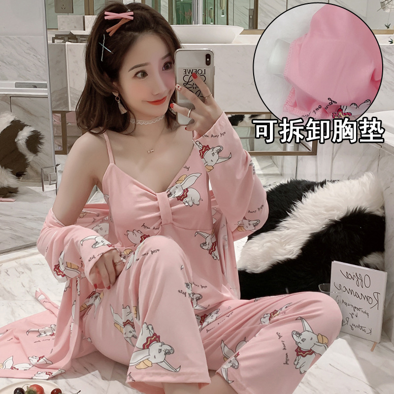 According To Feminine Deconstructable Bra Pajamas Women's Autumn Long Sleeve Three-piece Set With Chest Pad Camisole Loose-Fit W