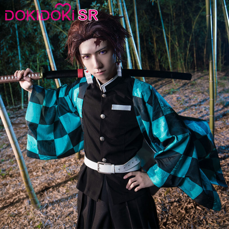 DokiDoki Anime Cosplay Demon Slayer: Kimetsu No Yaiba Cosplay Kamado Tanjirou Cosplay Kimetsu No Yaiba Costume Men