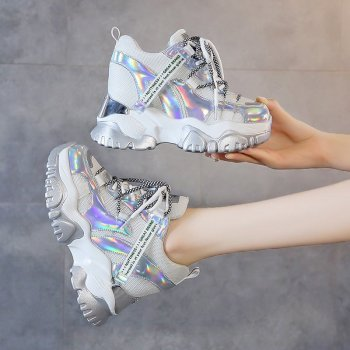 TUINANLE Chunky Sneakers High Heel 10 CM Women Autumn Thick Bottom Platform Sneakers Height Increasing Woman Silver Casual Shoes tuinanle chunky sneakers high heel 10 cm women autumn thick bottom platform sneakers height increasing woman silver casual shoes