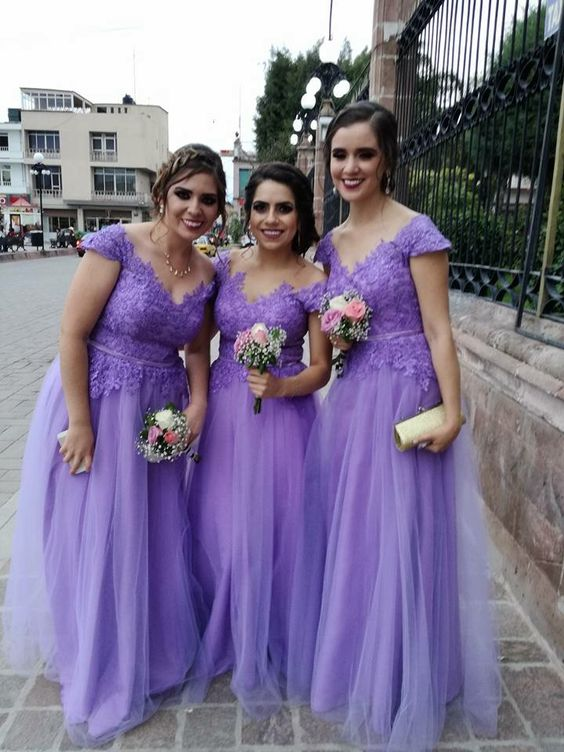 Lilac Tulle Bridesmaid Dresses Abito Damigella Women Long Dress For Wedding Party Cap Sleeves V-neck Formal Gowns