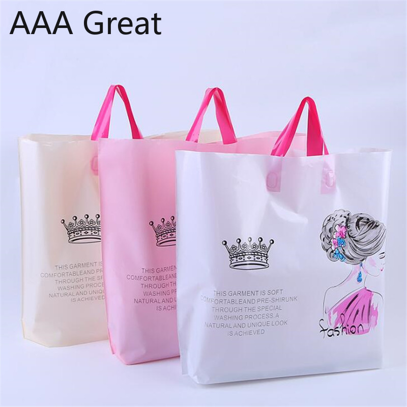 50pcs/Lot <font><b>Gift</b></font> <font><b>Bags</b></font> <font><b>Handles</b></font> <font><b>Plastic</b></font> <font><b>Bag</b></font> For Clothes Storage <font><b>Bag</b></font> Party Supplies Shopping <font><b>Bag</b></font> Packing Wedding Decoration image