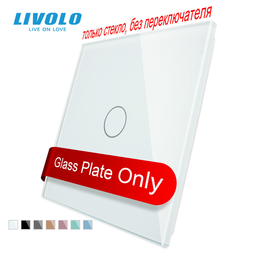 Livolo Luxury White Pearl Crystal Glass, EU standard, Single Glass Panel For 1 Gang Wall Touch Switc