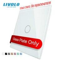 Livolo luxo branco pérola vidro de cristal, padrão da ue, único painel vidro para 1 gang interruptor toque parede, VL-C7-C1-11 (4 cores)