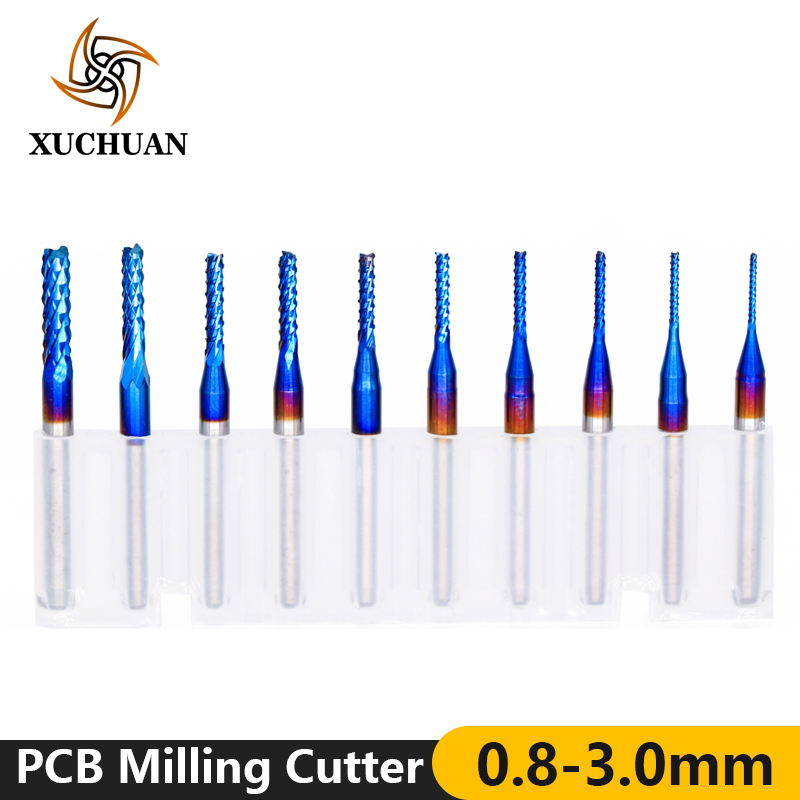 10pcs 0.8-3.0mm CNC Router Bit 3.175mm Shank PCB Milling Cutter Nano Blue Coated Carbide Micro End Mill