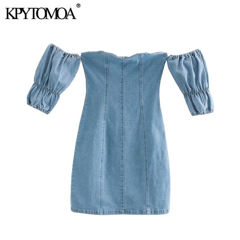 KPYTOMOA Women 2020 Sexy Fashion Back Zipper Denim Mini Dress Vintage Slash Neck Short Sleeve Female Dresses Vestidos Mujer
