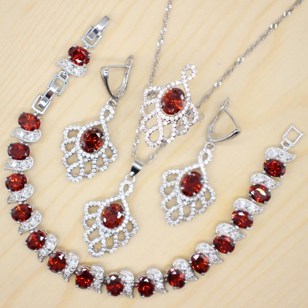 GZJY Red and Blue Personalize Jewelry Sets 925 Silver Bridal Wedding Crystal Jewelry for Women Christmas Gift(China)