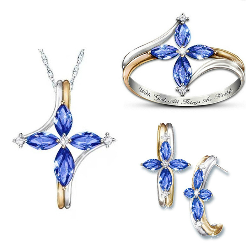Trendy Crystal Jewelry Set Brilliant Blue Cubic Zirconia Two Tone Necklace Ring Earrings Wedding Party Jewelry Sets