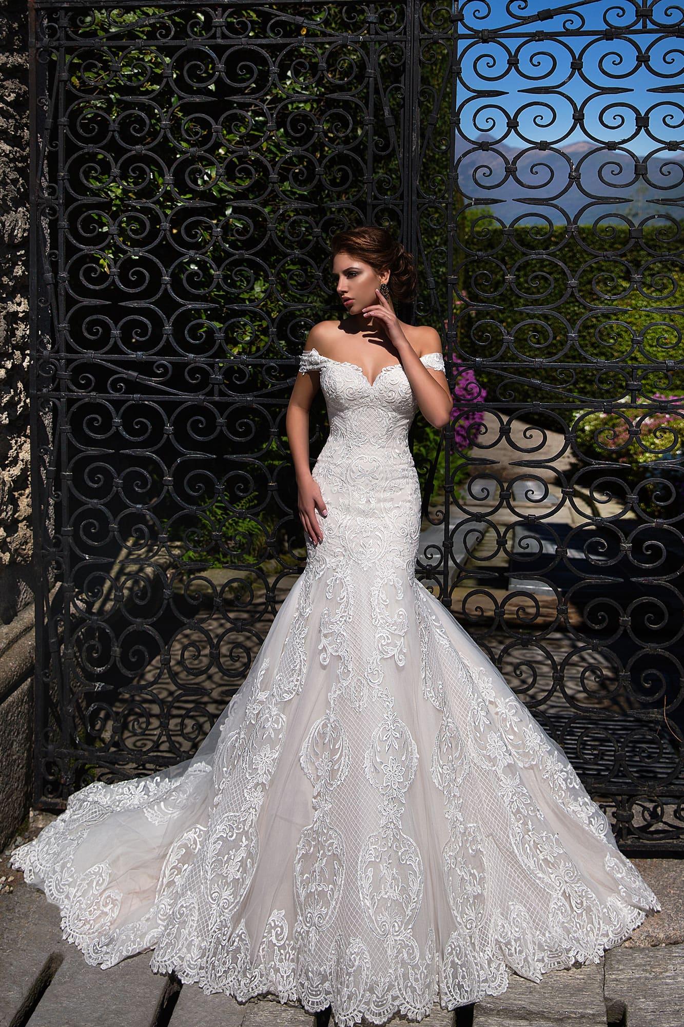 Image 2 - Off Shoulder Mermaid Wedding Dress 2020 Lace Up Back Appliqued Tulle Wedding Gowns Bride Dress Lace Wedding Dress MariageWedding Dresses   -