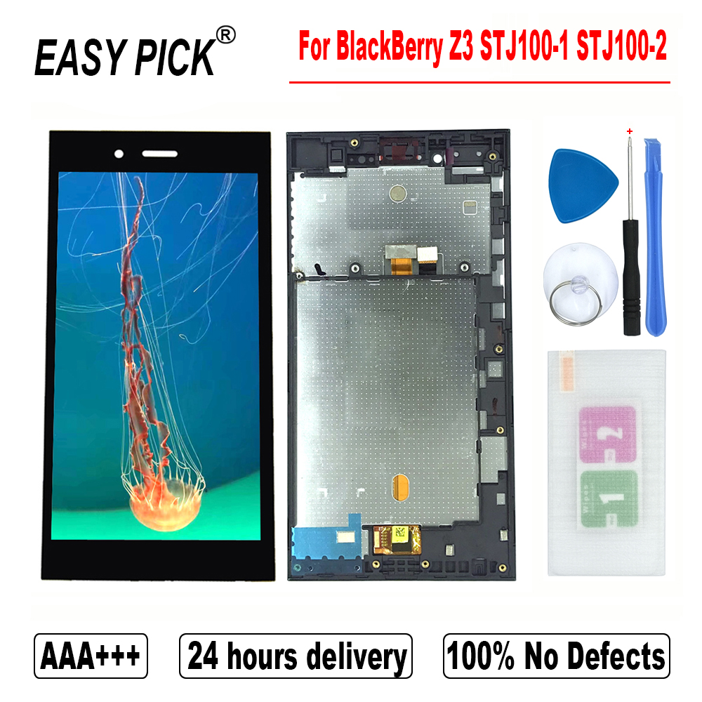 For BlackBerry Z3 STJ100 1 STJ100 2 LCD Display Touch Screen Digitizer Assembly Replacement With FrameMobile Phone LCD Screens   -