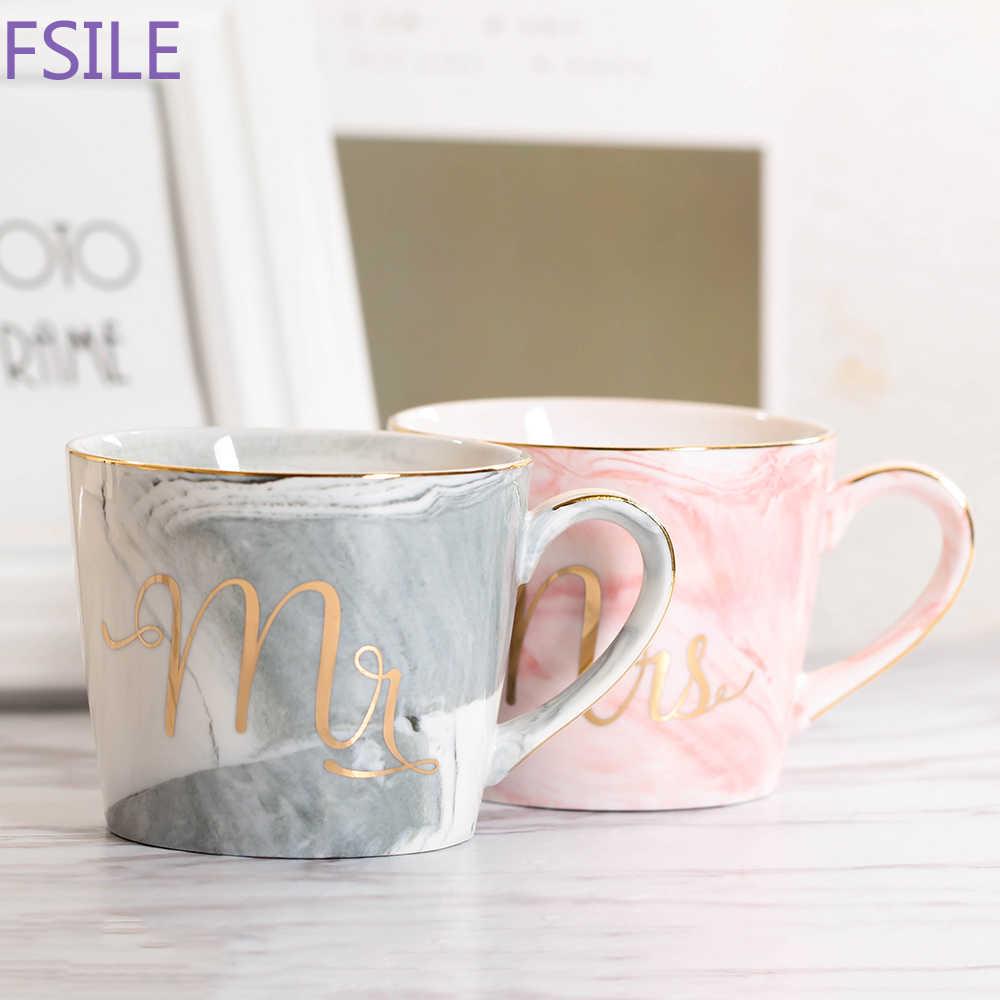 380 مللي الرخام السيراميك القدح كوب (مج) للقهوة في السفر الحليب أكواب شاي الإبداعية السيد والسيدة أكواب الوردي الذهب البطانة الإفطار المنزل ديكور