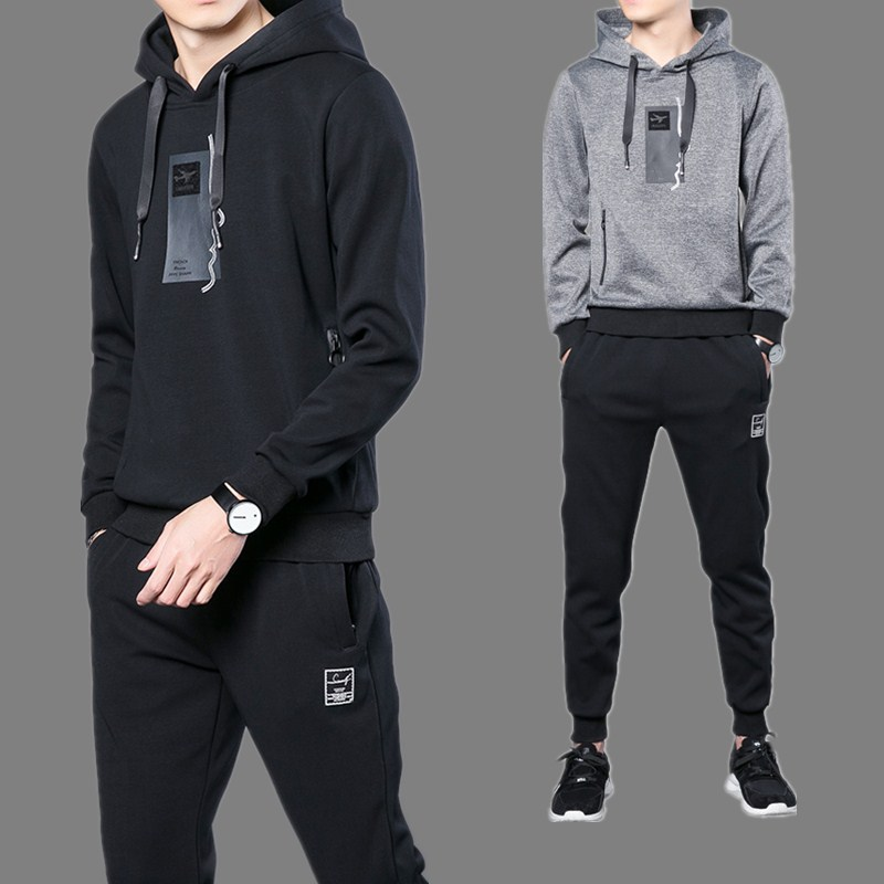 Hoodie Suit Autumn Men 2019 Spring And Autumn Hooded Sports Casual Couples Two-Piece Set Trend Spring Clothing Coat
