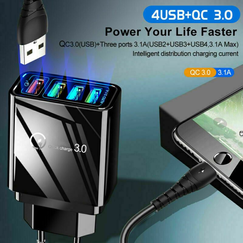 4 Multi-Port Fast Quick Charge QC 3.0 USB Hub Wall Charger Adapter UK EU US Plug