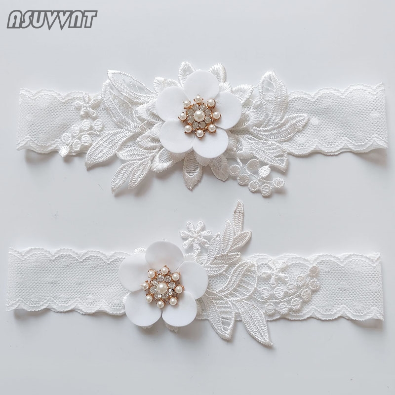 Fashion Wedding Garter  Bow Lace Leg Ring White Sexy Thigh Garters Bridal Flower Leg Garter Gift For Girl Women Party Dress Up