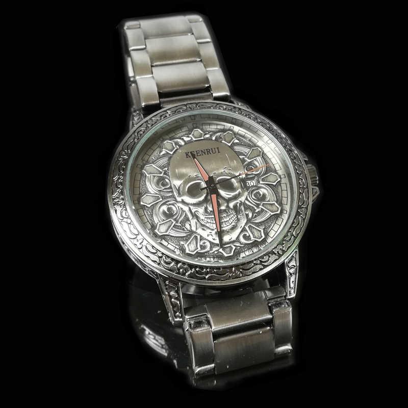 Mode 3D crâne hommes montres haut de gamme de luxe rétro en cuir décontracté Quartz montres hommes mâle Date horloges Relogio Masculino