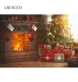 Laeacco Photographic Backdrops Christmas Tree Fireplace Gift Sock Child Portrait Photography Backgrounds Photocall Photo Studio mocsicka christmas winter snow night backdrops for photography christmas tree fence decor photographic studio photo backgrounds