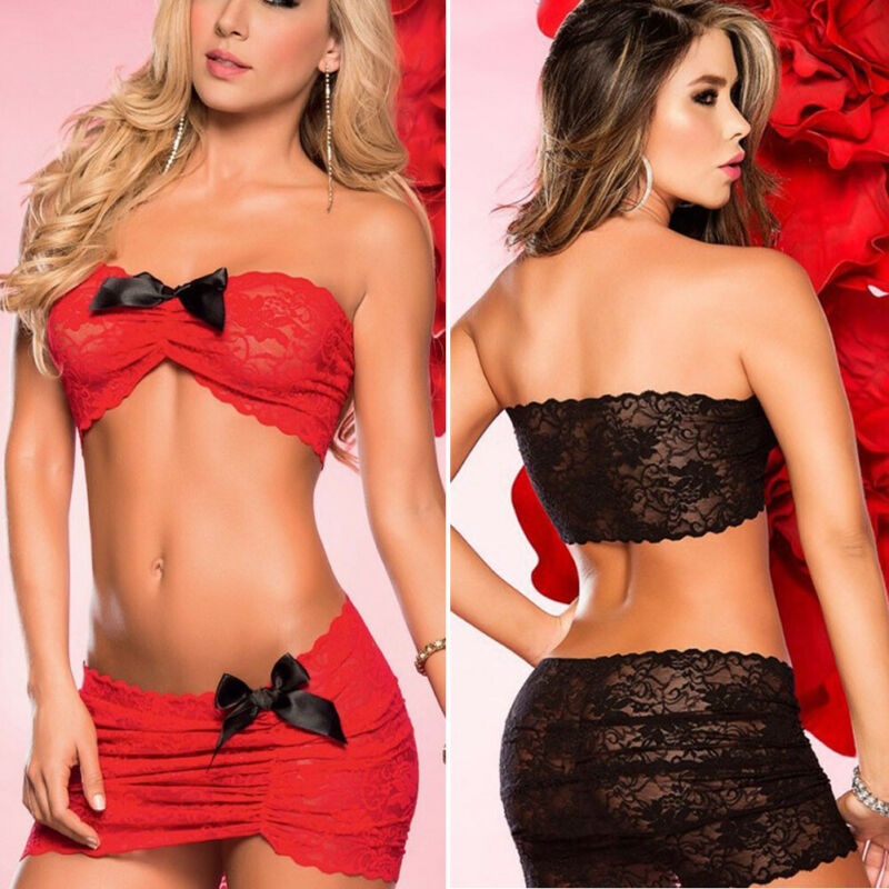 Meihuida Red Black Porn Sexy Lace Lingerie Women Bowknot Strapless Crop Tops Mini Skirts Sets Hot Erotic Nightwear