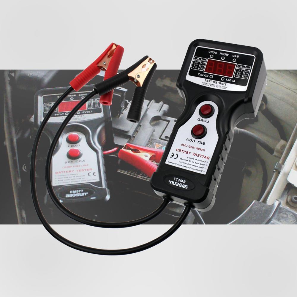 """Skaitmeninių automobilių akumuliatorių testerių analizatorių akumuliatorių diagnostikos priemonių starterio variklio apkrovos įtampos testas. Profesionalus """"All-Sun EM577"""""""