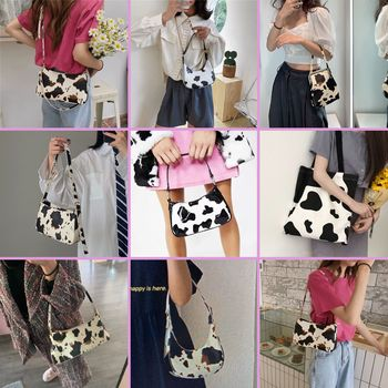 Cow Pattern Women Baguette Handbags Collection Leather Crossbody Bags for Ladies Vintage Design Shoulder Bag Fashion Armpit Bag cute women s crossbody bag with tassels and smile pattern design