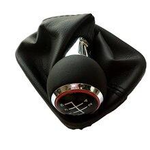 Manopla de engrenagem da câmbio do carro, 5 engrenagens 6 velocidades mt com botão de couro, tampas vermelhas para audi a3 s3 8p-line estilizador de carro esportivo
