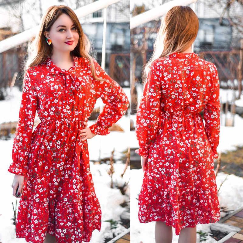 Plus Größe 2020 Frauen Herbst Kleider Böhmische Lange Hülse Chiffon Hemd Kleid Weiß Bogen Floral Boho Club Party Kleid Winter 3XL