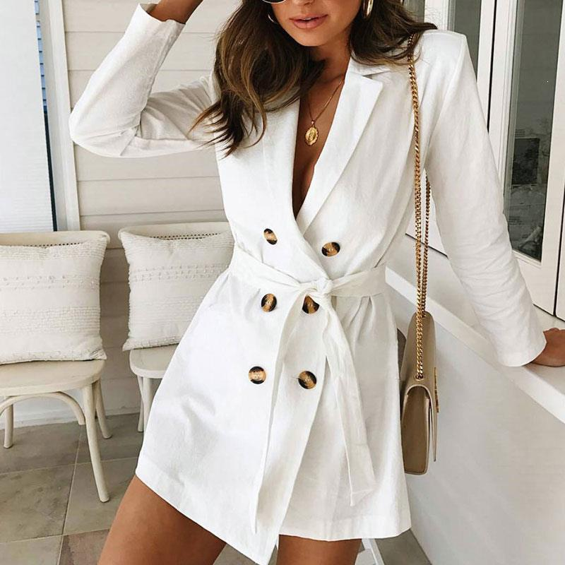 Fall Women White Double-Breasted Casual Blazers Female Long Sleeve Lace Up Jacket Loose Belt Notched Blazers