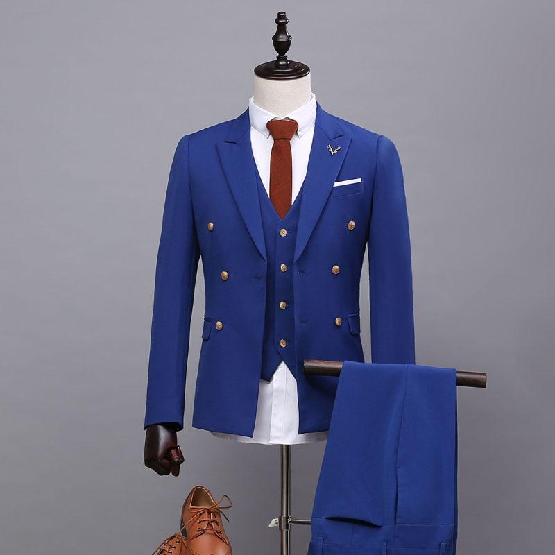 Peaked Lapel Mens Three Pieces Wedding Tuxedos Tailor-made Mens Blazer Coat Suits Formal Business Suit (Jacket+Pants+Vest)