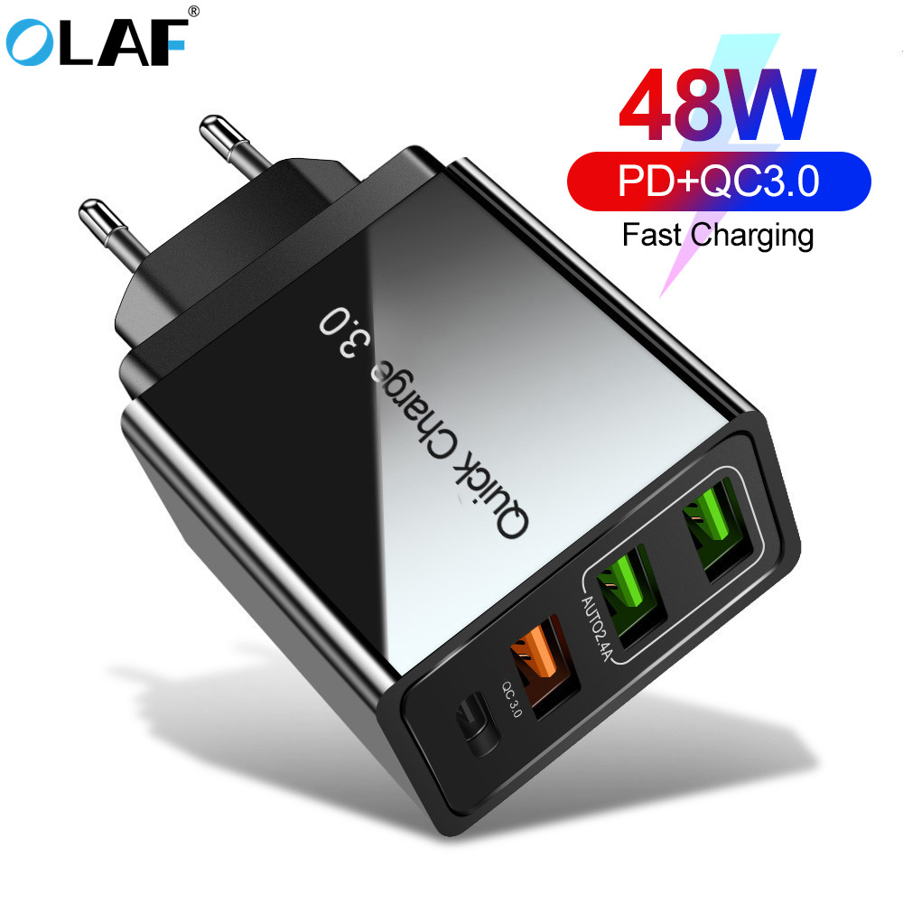 OLAF Quick Charge 4.0 3.0 QC PD Charger 48W QC4.0 QC3.0 USB Type C Fast Charger for iPhone 11 X Xs 8 Xiaomi Phone PD Charger