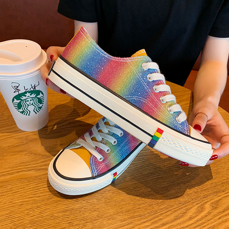 Custom Hand Painted Canvas Shoes Women Fashion Lovers Casual Sneakers Rainbow Gradient Breathable Sneaker New  Autumn