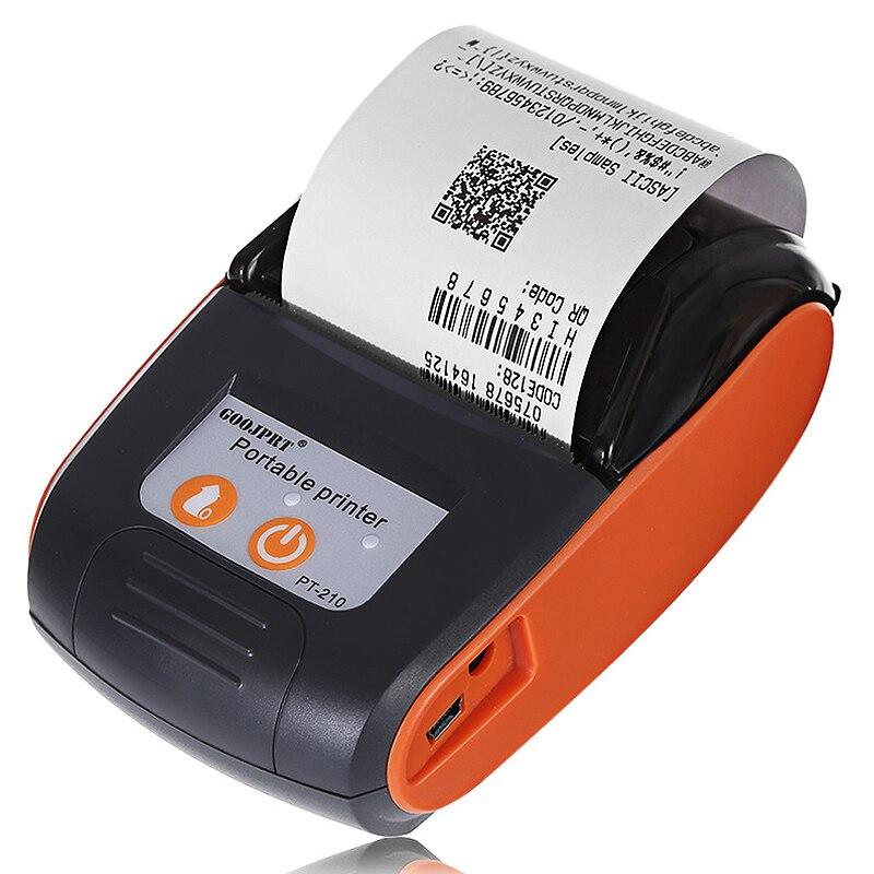 Goojprt Pt210 58Mm Bluetooth Thermal Printer Portable Wireless Receipt Machine For Windows Android Ios Us Plug