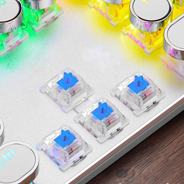 Steampunk Gaming Mechanical Keyboard Metal Panel Round Retro Keycap Backlit Wired Computer Peripherals for Desktop Laptop 5