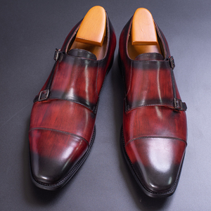 Image 3 - עור אמיתי גברים נעליים רשמיות בעבודת יד חום אדום צבע משרד עסקים אוקספורד כובע הבוהן כפול אבזם רצועת איטליה סגנון נעל