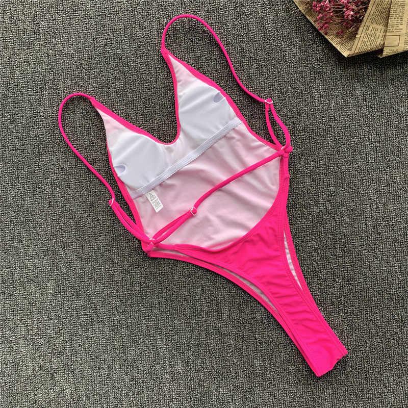 2020 seksi katı tek parça mayo kadınlar mayo yüksek kesim tanga Bodysuit Monokini Backless mayo Beachwear mayo