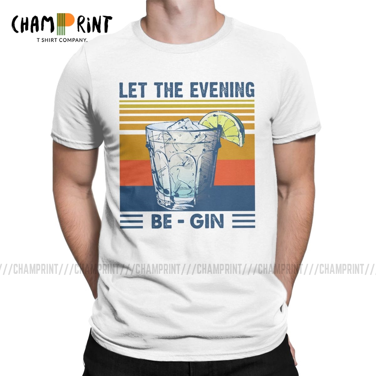 Men T-Shirts Let The Evening Be Gin Martini Cocktail Funny Tees Short Sleeve Vintage Summer Beer T Shirts O Neck Tops Summer image