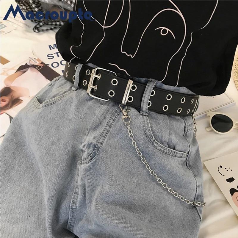 Moda Harajuku cintura a catena Punk da donna regolabile nero doppio/singolo occhiello passacavo fibbia in metallo cintura in pelle per Jeans