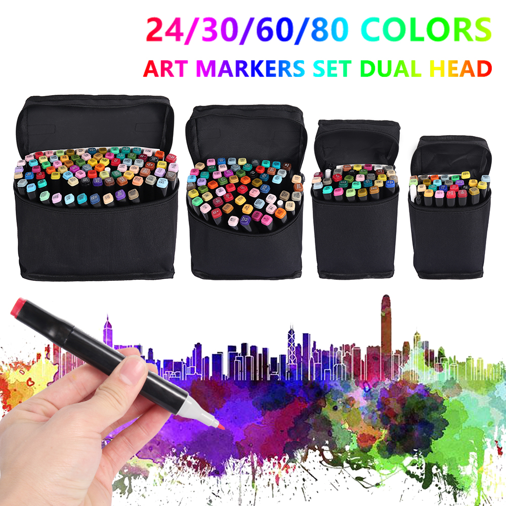 24/30/60/80 Colors Double Head Sketch Oily Art Marker Pen Set Students Artist Art Supplies Manga Dual Tip Brush Pen Markers Kit
