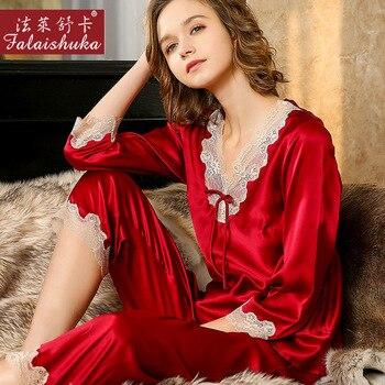 100% natural silk pajamas sets women sleepwear summer 3/4 sleeve sleeves Noble sexy red pure genuine silk pyjamas women T8228