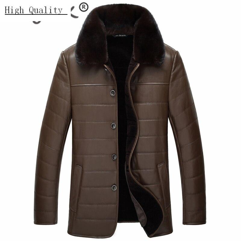 100% Genuine Leather Jacket Men Clothes 2020 Winter Warm Wool Liner Coat Mink Fur Collar Business Mens Leather Coats 8889