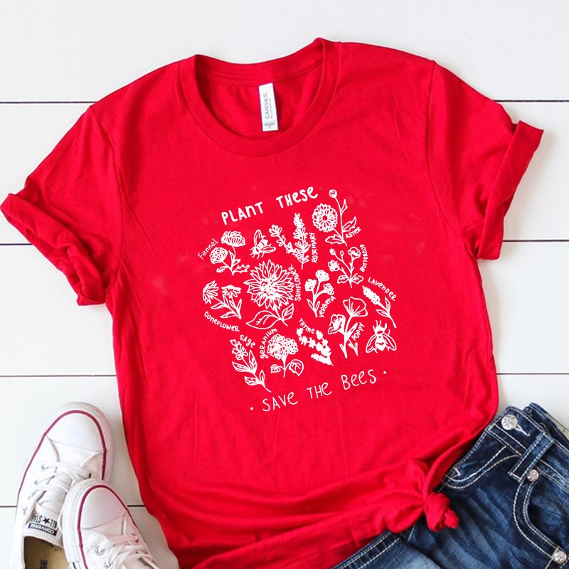 Plant These Harajuku Tshirt Women Causal Save The Bees T-shirt Cotton Wildflower Graphic Tees Woman Unisex Clothes Drop Shipping 39