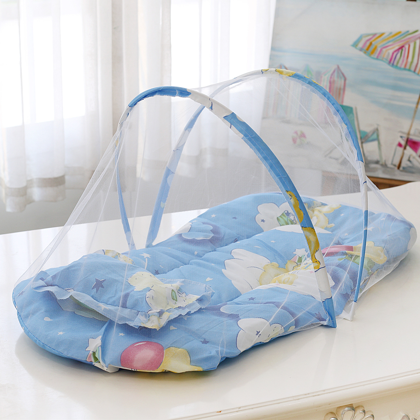 2020Summer Breathable Baby Bed Netting Foldable Portable Lace Cotton Material Net Yarn Newborn Moving Bed Super Lightweight Crib